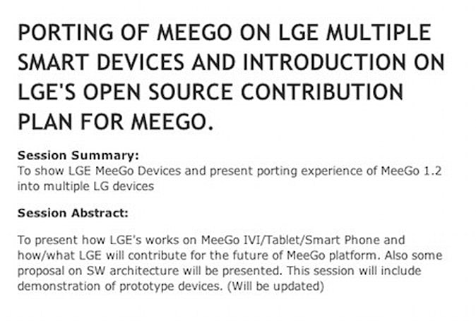 LG's MeeGo smartphone and tablet prototypes to be demonstrated next month