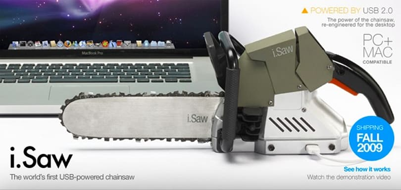 Video: USB powered chainsaw makes short work of a fake plastic tree