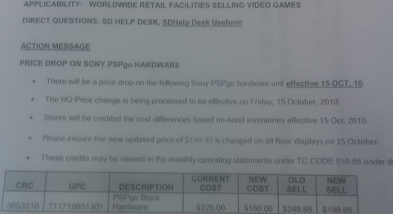 Rumor: PSP Go drops price to $200 this Friday in North America