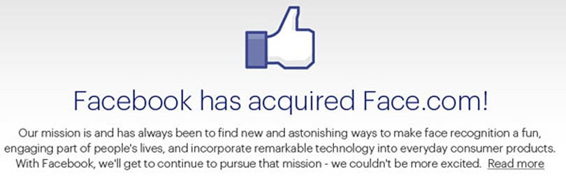 Face.com acquired by Facebook for an estimated $80 million+, facial tagging clearly at the forefront