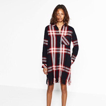Zara Check Dress with Fringing