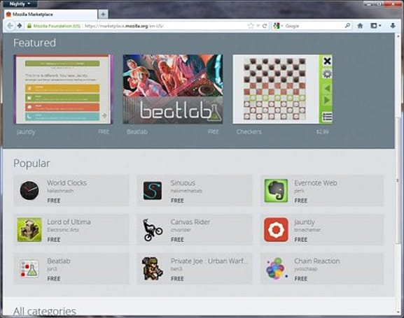Mozilla Marketplace is live, lets you run web apps like desktop programs