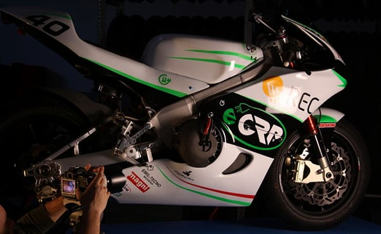 The eCRP 1.4 electric race bike revealed, captured screaming around the track (video)