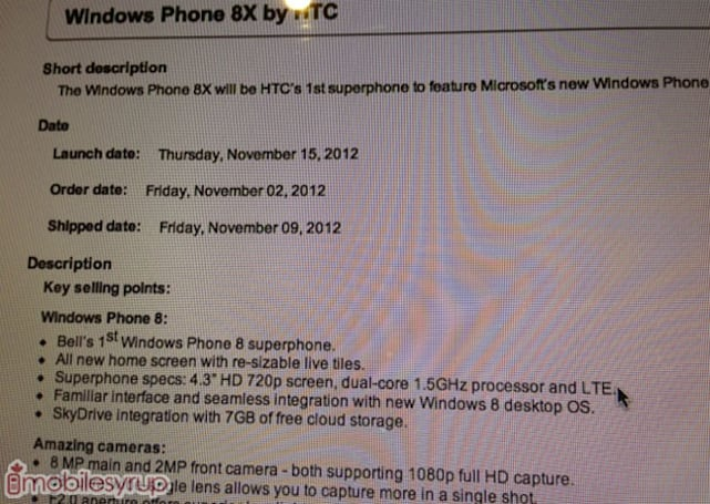Bell gearing up for November 15th HTC 8X release