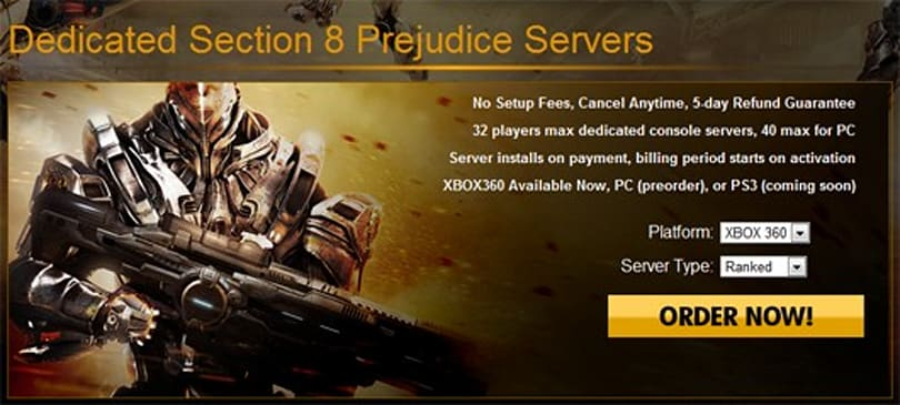 Dedicated server support added to Section 8: Prejudice on XBLA