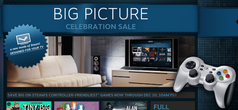 Steam Big Picture is live, weeklong sale on controller-friendly games