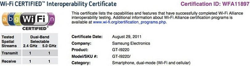 Samsung GT-i9220 confirmed as smartphone with dual-band WiFi, specs remain in rumorville