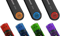 Transcend's latest JetFlash drives: the 220 with fingerprint scanning, the V35 without