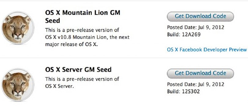 Apple Mountain Lion Gold Master is up for the download