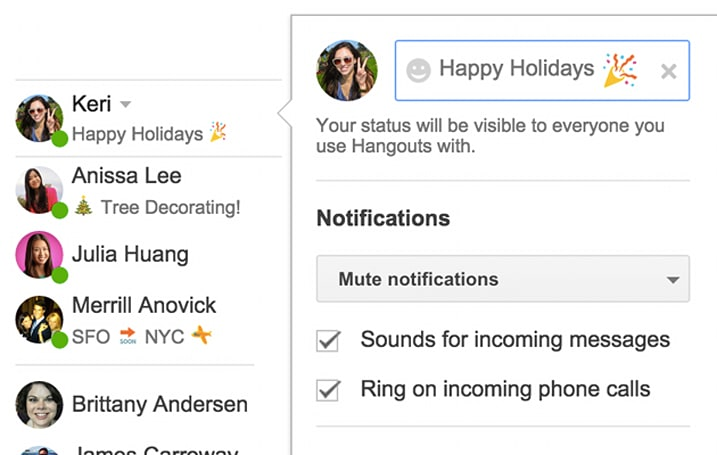 Hangouts for Gmail brings back the status update