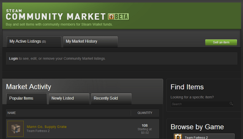 Steam Community Market enables buying and selling with Steam Wallet