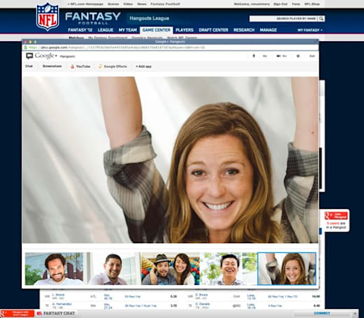NFL adds Google+ Hangouts to fantasy football leagues for extra-personal trash talking
