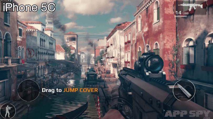 How different is Modern Combat 5 on a iPhone 4s and a 5c?