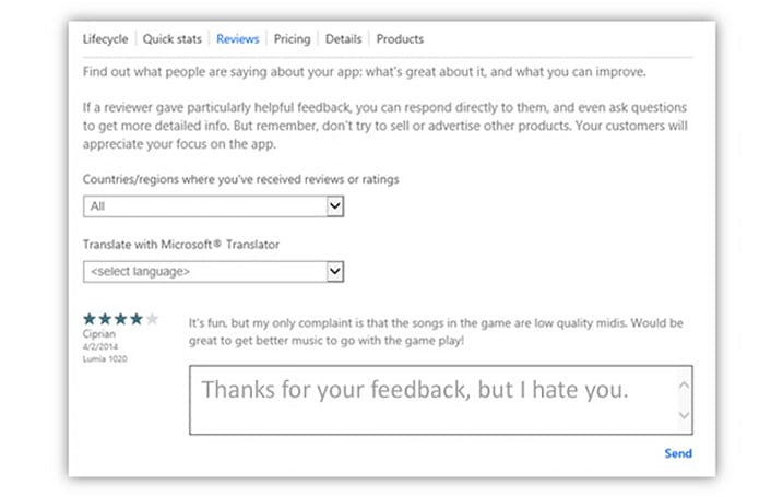 Microsoft's now letting developers respond to app store critics