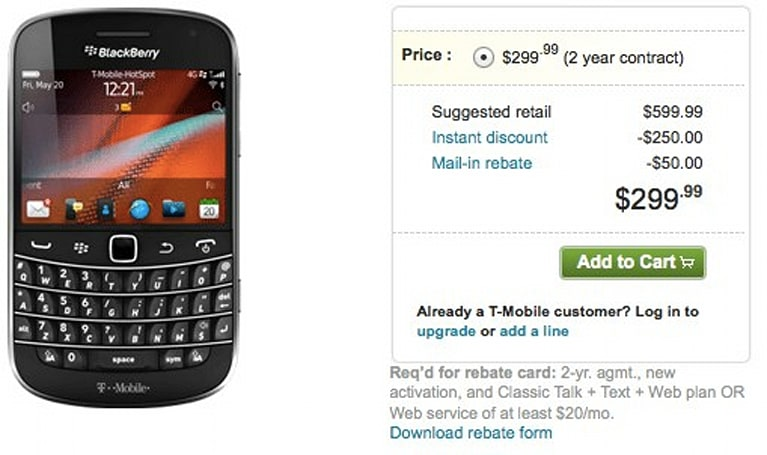 BlackBerry Bold 9900 now available on T-Mobile, still late to the 7 OS party