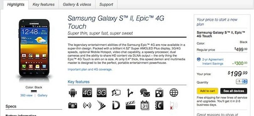Samsung Epic 4G Touch now available to all on Sprint.com