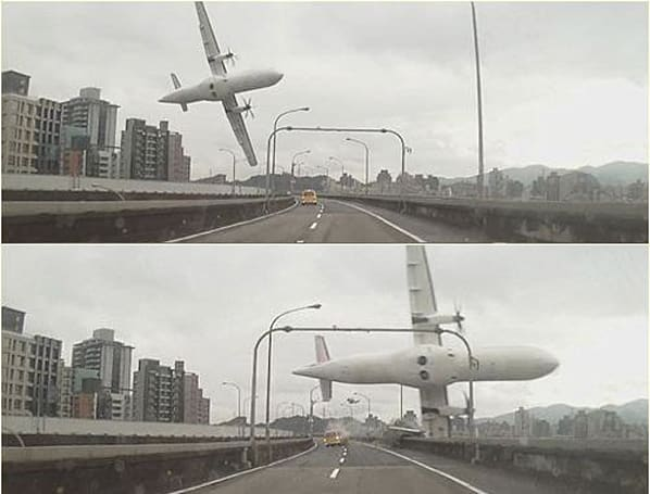 Taiwan plane crash gets captured (very closely) on in-car dashcam