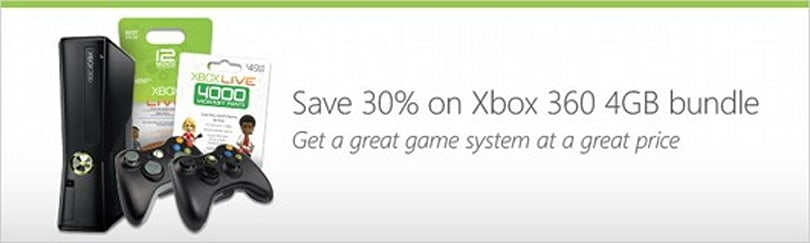 Xbox 360 4GB bundle deal featured on Microsoft Store