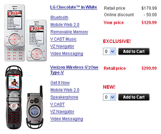 G'zOne, White Chocolate see launches on Verizon