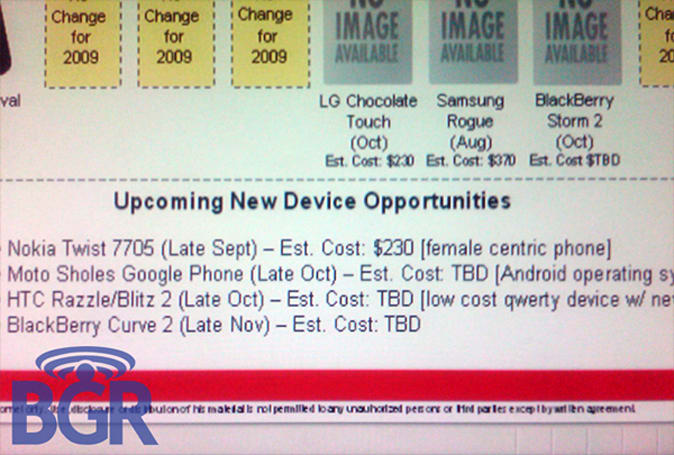 Storm 2, Motorola Sholes, Nokia Twist dated for Verizon, according to leaked doc