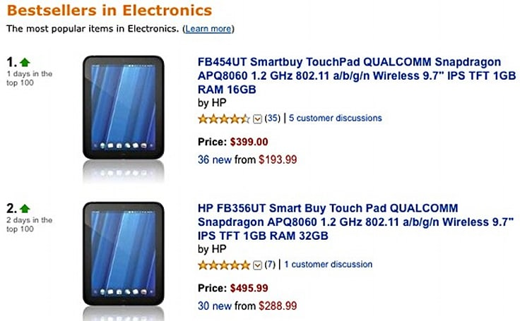 HP TouchPad tops Amazon US sales, rumored for UK price drop