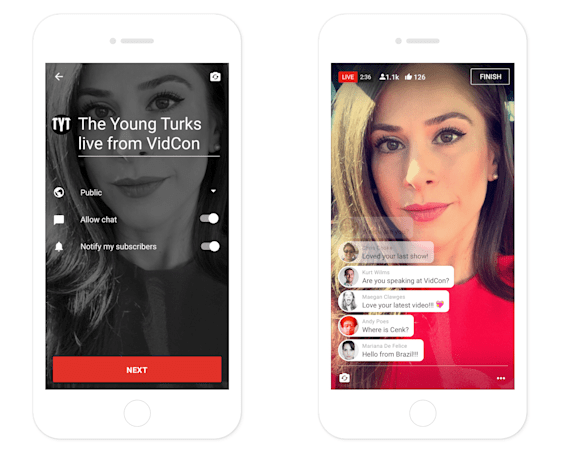 YouTube's mobile app will soon support live video streams