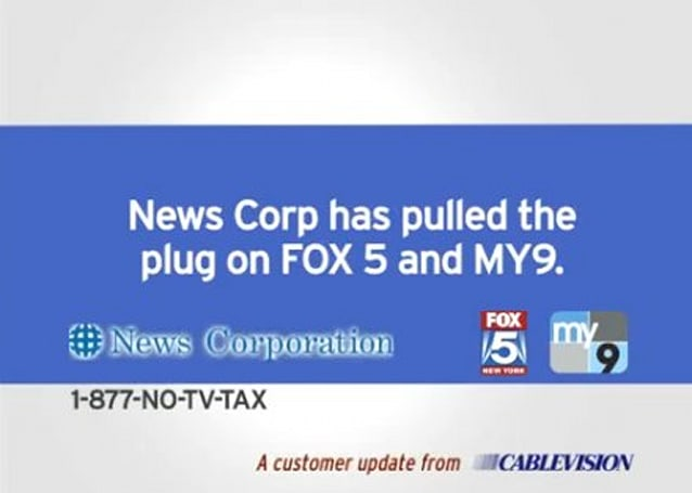 Cablevision updates its anti-Fox message as blackout continues