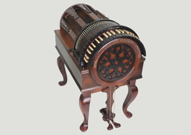 The Wheelharp delivers string-orchestra sounds via a mechanical keyboard