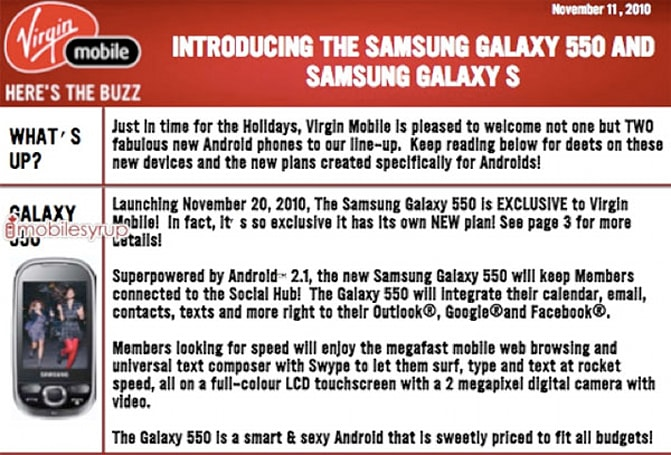 Samsung Galaxy 550 prepping for low-end Android duty on Virgin Mobile Canada