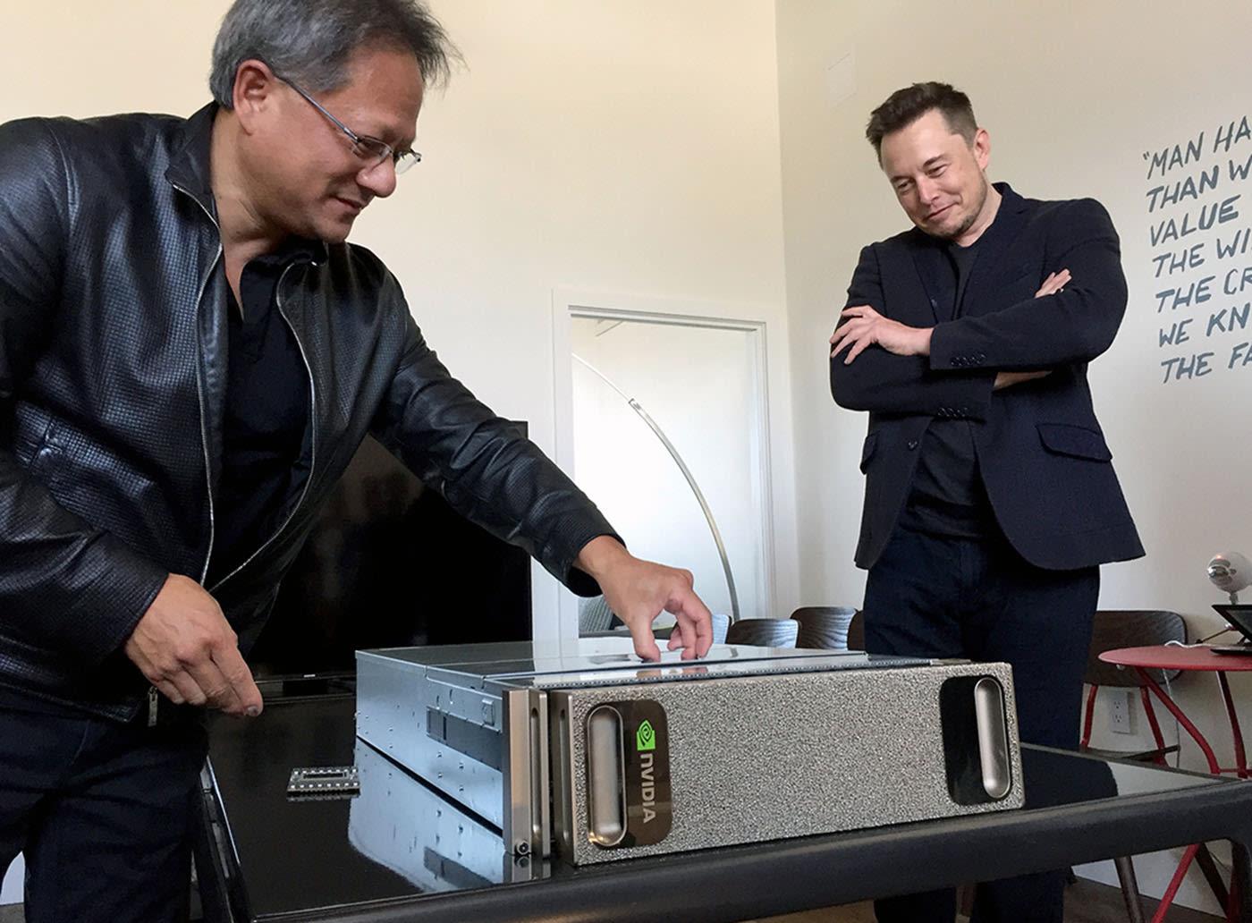 Jen-Hsun Huang with Elon Musk, and the DGX-1. NVIDIA.