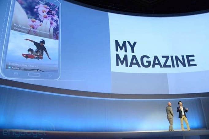 Samsung flaunts its My Magazine Flipboard-style homescreen for the Galaxy Note 3