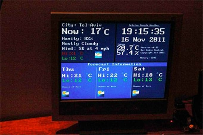 Arduino kit beams low-fi Google Weather to VGA screens