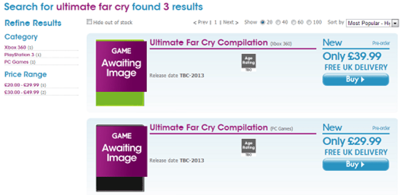 'Ultimate' Far Cry, Splinter Cell bundles spotted on UK retail site