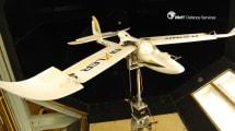 Unbemanntes Flugzeug landet in Vogelmanier auf der Wiese