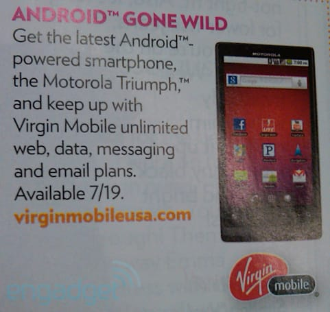 Motorola Triumph release date leaked by 'People' magazine, coming to Virgin on July 19th