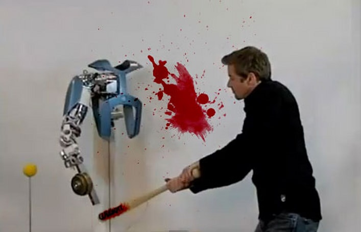 Robot arm learns to use hammer, mocks pathetic human's attempt to fight back (video)