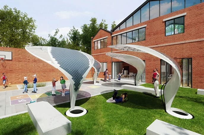 Designer proposes VEIL Solar Shades to help power schools