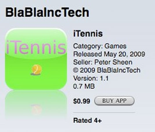 Lifted tutorial code winds up in $0.99 App Store tennis game