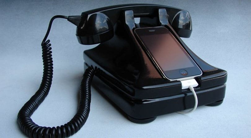 Beautiful retro handset base for the iPhone