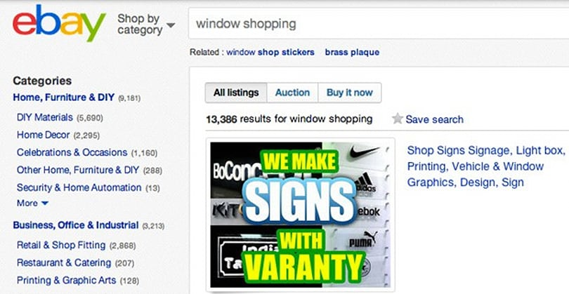 eBay's large retail screens could make 'window shopping' more expensive
