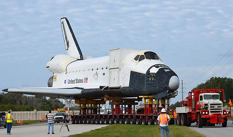 Artificial Space Shuttle Explorer readies for launch at sea, journey to Houston