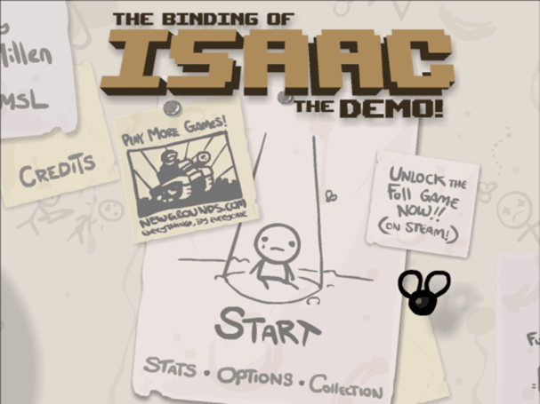 Update bound for The Binding of Isaac, demo available on Newgrounds
