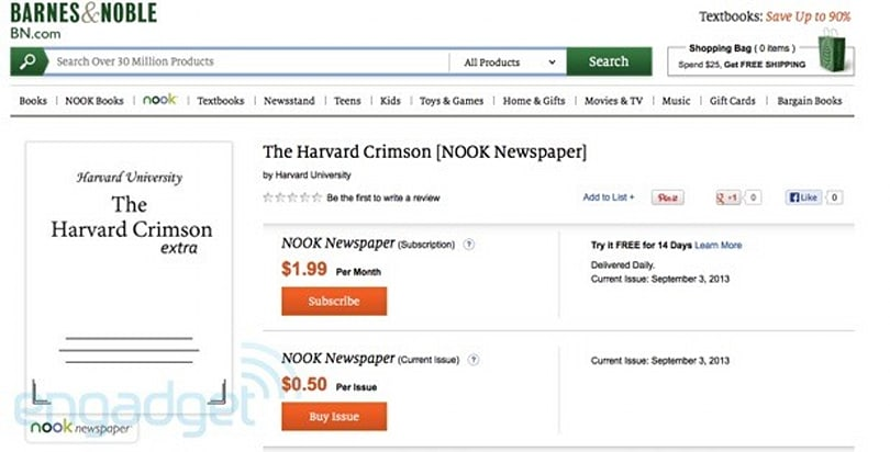 Nook Newstand now offering access to college papers