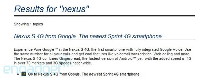 Nexus S 4G confirmed by Sprint's own website, first 'fully integrated' Google Voice smartphone