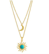 Sun & Moon Turquoise Layered Necklace