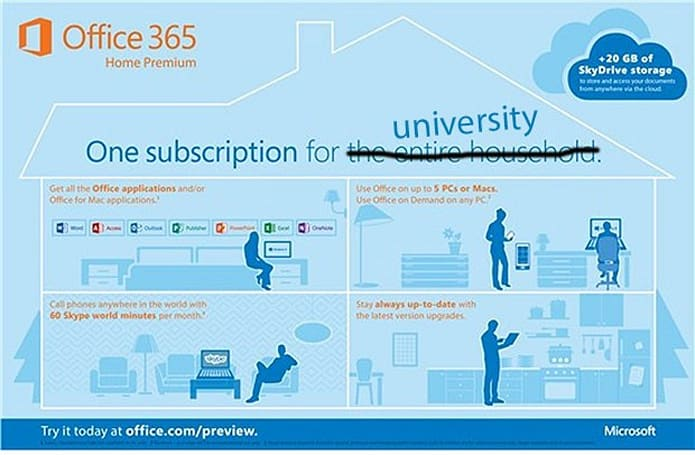 Microsoft launches four-year, $80 Office 365 University subscription for students