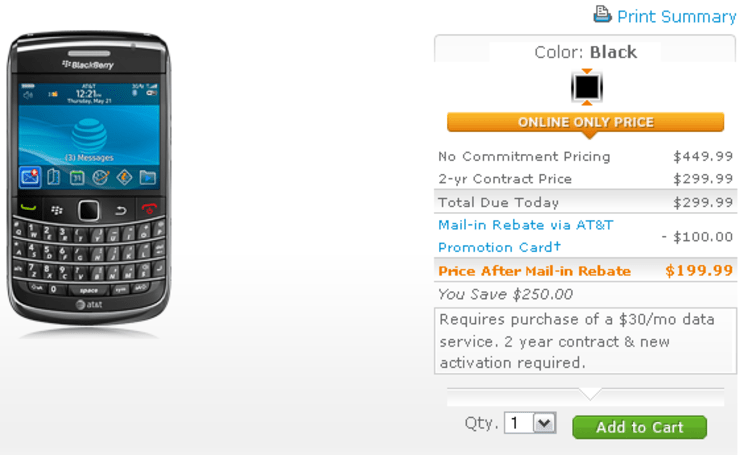 BlackBerry Bold 9700 now on sale to all at AT&T: $200 on contract