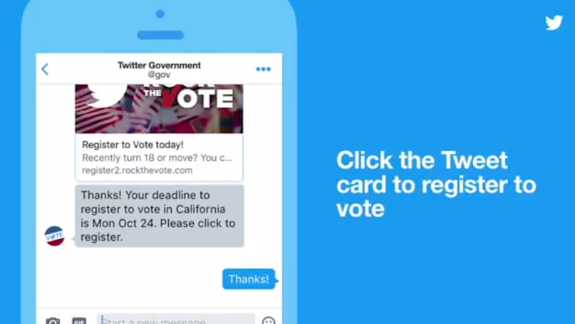 Twitter helps you register to vote through direct messages
