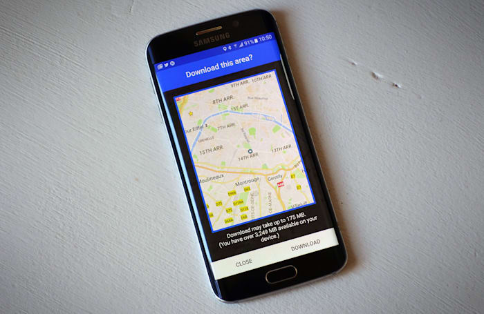 Google Maps for Android lets you save maps to an SD card