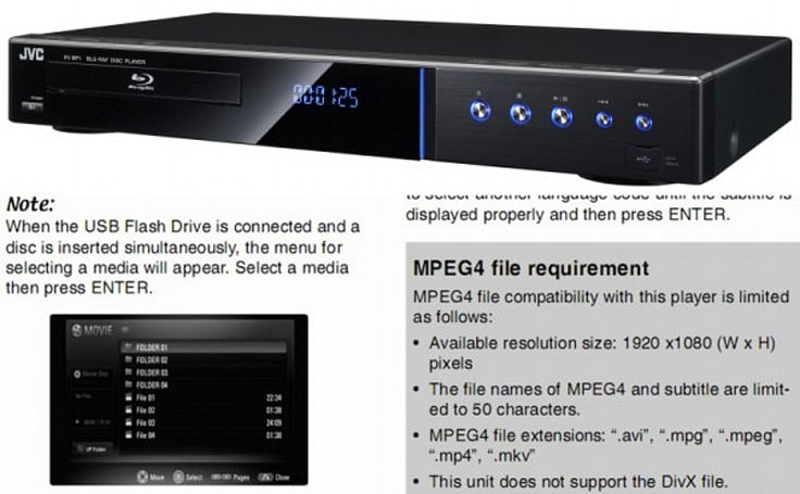 JVC XV-PB1 Blu-ray player surprises with 1080p MPEG-4 MKV support